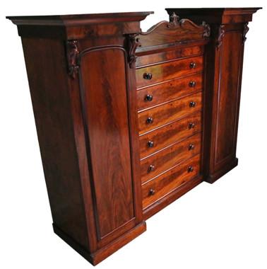 Antique Victorian C1860 mahogany compactum wardrobe