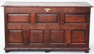 Antique large 18C Georgian oak coffer mule chest log basket
