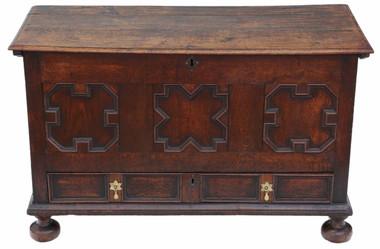 Antique 18th Century Georgian oak coffer or mule chest