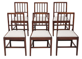 Antique quality set of 6 Victorian C1850 oak dining chairs