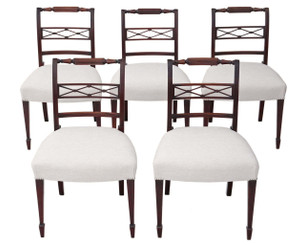Antique fine quality set of 5 Regency C1825 mahogany dining chairs