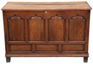 Antique large 18th Century Georgian oak coffer or mule chest