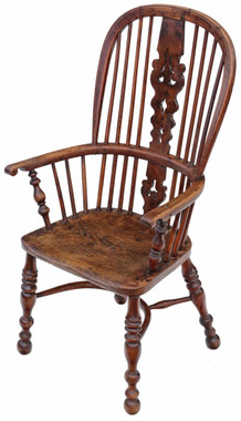 Antique quality Victorian C1840 yew & elm Windsor chair armchair dining