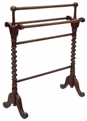 Antique quality Victorian C1885 mahogany towel rail stand