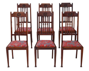 Antique quality set of 6 mahogany dining chairs Art Nouveau C1915