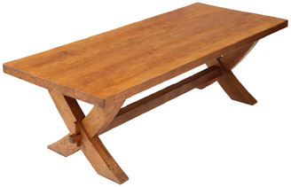Antique large quality oak Georgian refectory style dining table ~ 8'