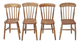 Antique set of 4 Victorian C1890 ash & elm kitchen dining chairs