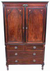 Antique 19C Regency mahogany wardrobe armoire linen press