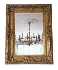 Antique large quality Victorian style reproduction gilt wall mirror