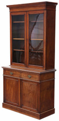 Antique tall Victorian mahogany glazed bookcase cupboard display cabinet