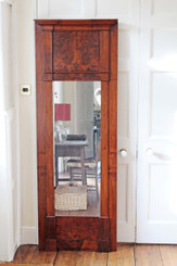 Antique large 19C Victorian flame mahogany tall pier mirror