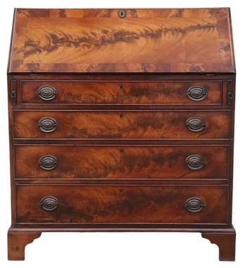 Antique Georgian C1810 flame mahogany bureau desk writing table