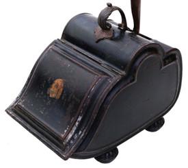 Antique Victorian C1850 Japanned steel coal scuttle box or purdonium