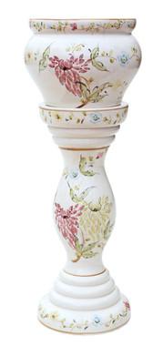 Antique Victorian C1900 ceramic jardiniere pedestal stand plant pot bowl