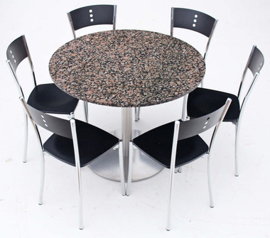 Italian Granite table and 6 chrome black dining bistro kitchen chairs