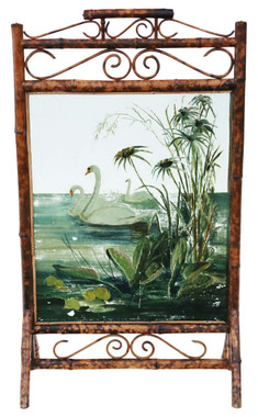 Antique Victorian C1900 bamboo decorated glass fire screen swans