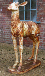 Antique reclaimed large life size cast iron female deer statue