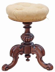 Antique 19C Victorian adjustable walnut piano stool music dressing table
