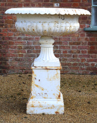 Antique large huge classical cast iron planter on plinth urn