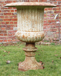 Antique large classical cast iron planter urn on plinth