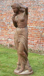 Antique reclaimed large near life size cast iron posing lady statue