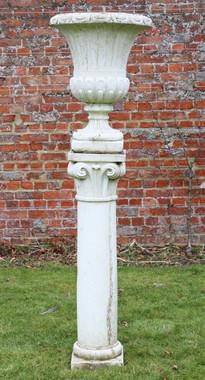 Large classical antique cast stone planter urn on plinth column pedestal