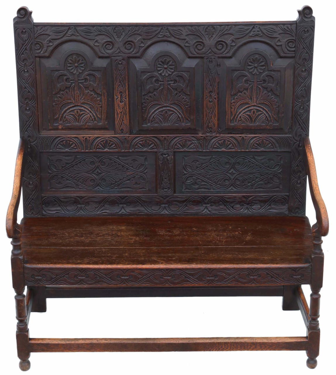 Cool Antique Small Georgian Carved Oak Settle Bench Seat 18Th Beatyapartments Chair Design Images Beatyapartmentscom