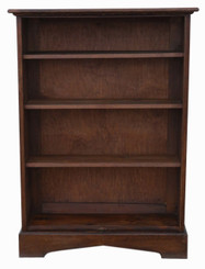 Antique quality large adjustable oak bookcase display shelves C1920