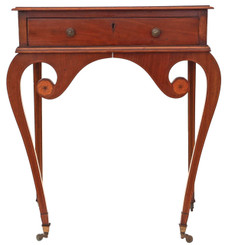 Antique Victorian C1890 inlaid mahogany side or writing table
