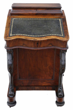 Antique quality Victorian C1880 figured walnut davenport writing table desk