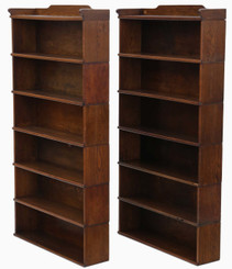 Antique quality pair of oak Globe Wernicke stacking bookcases C1920