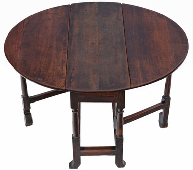 Antique Georgian 18th Century oak gateleg drop leaf dining table
