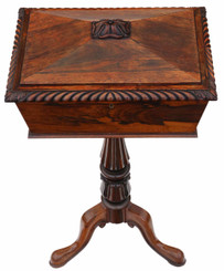 Antique top quality Regency carved rosewood tea ploy C1830