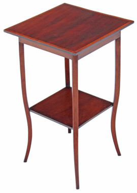 Antique Edwardian inlaid mahogany side table plant table