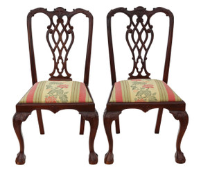 Antique quality pair of dining chairs Chippendale reproduction