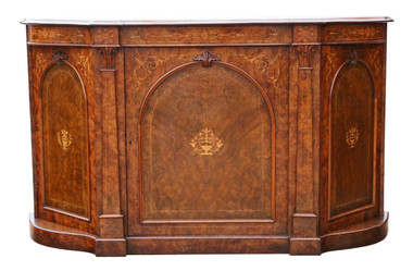 Antique large Victorian inlaid burr walnut credenza sideboard chiffonier