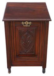 Antique quality carved walnut perdonium coal scuttle box or cabinet C1905