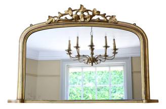 Antique large C1880 Victorian gilt overmantle wall mirror
