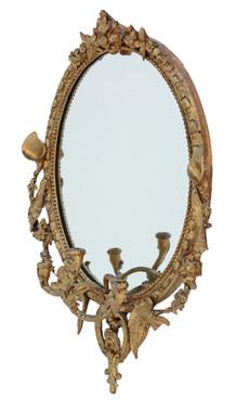 Antique early 19th Century large gilt girandole wall mirror