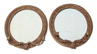 Antique pair 19th Century Victorian gilt girandole wall mirrors