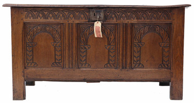 Antique Georgian 18th Century carved oak coffer or mule chest
