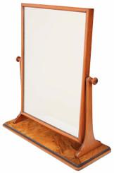 Antique fine quality large burr walnut swing mirror toilet C1880