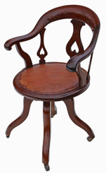 Antique Victorian C1900 mahogany and leather swivel desk office chair