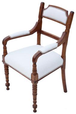 Antique Victorian C1880 oak armchair desk chair