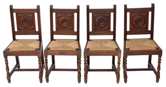 Antique set of 4 oak early 20C kitchen dining chairs
