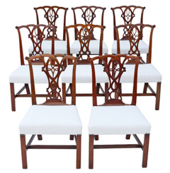 Antique quality set of 8 mahogany Georgian C1800 dining chairs