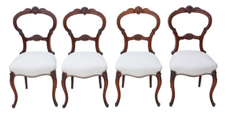 Antique set of 4 Victorian C1880 walnut balloon back dining chairs