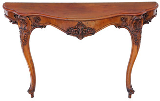 Antique large 19th Century carved and figured walnut console table