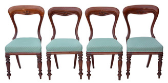 Antique set of 4 Victorian C1880 mahogany balloon back dining chairs
