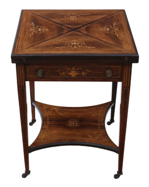 Antique Victorian figured inlaid walnut oval side supper tea table